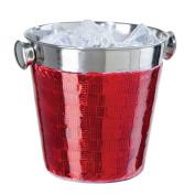 Oggi Mosaic Stainless Steel Glitz Single Wall Mini Ice Bucket, 1420ml, Red