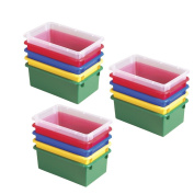ECR4Kids Stack and Store Bin, Assorted, 15-Pack