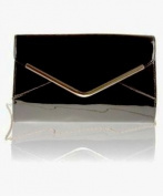 Zarla Large Patent Ladies Envelope Shaded Clutch Bridal Party Womens Evening Bags Prom