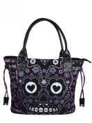 Banned Striped Purple Sugar Skull Handbag