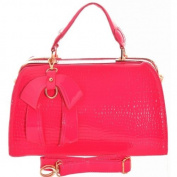 Girly HandBags Patent Doctor's Handbag Shoulder Bag Gold Frame Office Women Metal Frame