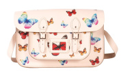 38cm Beige satchel with Multi-Coloured Butterfly pattern - 100% Real English Leather - Oxbridge Satchel - Butterfly Print Fashion Retro School Bag - Made in UK