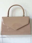 Nude Envelope Grab Bag, Beige Evening Bag, Small Brown Glossy Top Handle Handbag, Ladies Brown Top Handle Bag