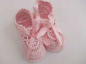 BNWT Baby boys & girls crotchet 100% cotton booties 0-3 months in voil gift bag