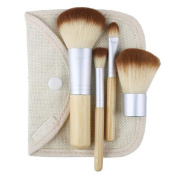 Bamboo Makeup Brush Set 4pcs Make Up Brushes with a Cosmetic Bag
