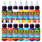 Solong Tattoo® 14 Basic Colours Tattoo Ink Set Pigment Kit 1oz (30ml) Professional Tattoo Supply for Tattoo Kit TI301-30-14