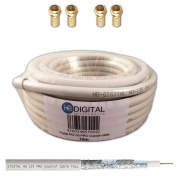 130dB 10m Coaxial SAT Cable HQ-135 PRO 4x Shielded for DVB-S / S2 DVB-C and DVB-T BK Systems plus 4 Gold-Plated F-Connector Set Included Free