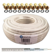 130dB 20m Coaxial SAT Cable HQ-135 PRO 4x Shielded for DVB-S / S2 DVB-C and DVB-T BK Systems plus 10 Gold-Plated F-Connector Set Included Free