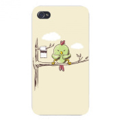 "Hat Shark Apple Iphone Custom Case 4 4S White Plastic Snap On - ""Public Toilet"" Funny Bird In Tree W/ Toilet Paper Roll"