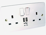 DUAL GANG DUAL PORT UK MAINS FACEPLATE WITH TWIN USB CHARGING SOCKETS