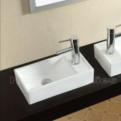 BATHROOM COUNTERTOP RECTANGLE CERAMIC BASIN SINK - TAP ON THE RIGHT