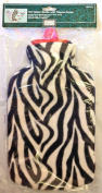 2L Hot Water Bottle & Soft Fleece Cover Black & White Zebra Design Cosy Gift