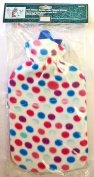 2L Hot Water Bottle & Soft Fleece Cover Spots Dotty Design Cosy Gift
