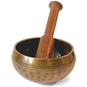 Small Mountain Hand Hammered Nepal Brass Tibetan Singing Bowl & Stick - For Healing / Meditation / Cleansing / Feng Shui / Decoration - Free Postage - Fair Trade