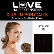 Love Hair Extensions Percilla Crocodile Clip Ponytail Jet Black 16 -inch