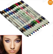 Davidsonne 12 Colour Lip Eyebrow Plastic Glitter Pencil Pen Cosmetic Makeup Set Kit Eyeliner