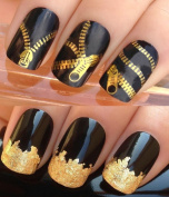 NAIL ART SET #397. A SHEET OF WATER NAIL TRANSFERS & A LARGE GOLD LEAF SHEET FOR CUSTOM DESIGNED NAILS! JEANS METALLIC GOLD ZIPPERS/ZIPS WATER WRAP/STICKERS/DECALS & STUNNING 24KT GLIZZY GOLD LEAF FOR FULL HOLLYWOOD NAILS! ALL CAN BE USED WITH NATURAL/ ..
