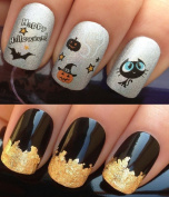 NAIL ART SET #481. A SHEET OF WATER NAIL TRANSFERS & A LARGE GOLD LEAF SHEET FOR CUSTOM DESIGNED NAIL! HAPPY HALLOWEEN WITCHES BLACK CAT/HAT/PUMPKIN/GHOST & BATS WATER WRAP/STICKERS/DECALS & STUNNING 24KT GLIZZY GOLD LEAF FOR FULL HOLLYWOOD NAILS! ALL ..