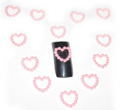 10pcs Pink Heart Pearl Nail Art 3D Bows Rhinestone Gems Decoration