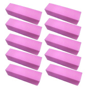 Well-Goal 10pcs Pink Buffer Buffing Sanding Block File Manicure Pedicure For Nail Art