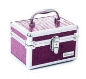 Urbanity Purple Crocodile Aluminium Vanity Case / Jewellery Box