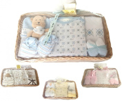 Newborn Bee Bo Baby Gift Set with Bodysuit, Bib, Booties, Hat, Toy 2 Washcloths in a Rattan Basket. 0 - 3 Months. Available in Blue, Pink, Cream, Lemon.