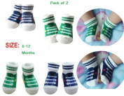 BABY BOYS GIRLS ANTI NON SLIP SOCKS 12-24 MONTHS AGE 1-2 BASEBALL STYLE PACK OF 2 BIRTHDAY PRESENT