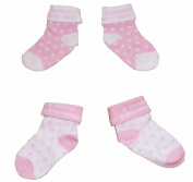 Baby Girls Cute Socks 2 Pairs - Pink & White 'I Love Daddy'
