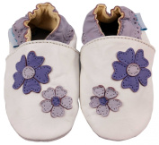MiniFeet Soft Leather Baby Shoes, Violet Flowers