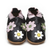 Soft Leather Baby Shoes Little Flowers Black 12-18 months