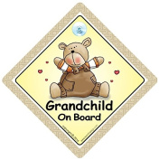 Grandchild on Board Car Sign, Grandchild on Board, Baby On Board, Unisex Baby on Board, Brown Bear Car Sign, Baby Sign, Car Sign, Baby On Board, Baby Car Sign, Bumper Sticker, Grandchildren Car Sign