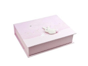 Handcrafted Soft Pink Quality Gift Set For Baby Girl with Keepsake Box, Photo Album and Booties by Mousehouse Gifts