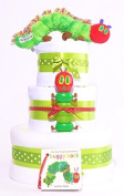 3 tiers - The Very Hungry Caterpillar nappy cake baby gift hamper basket unisex - FAST DELIVERY