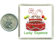 50th Birthday Lucky Silver Sixpence Gift in presentation keepsake box. Great good luck present idea for man or woman