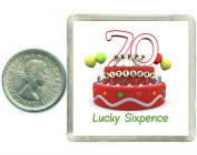 70th Birthday Lucky Silver Sixpence Gift in presentation keepsake box. Great good luck present idea for man or woman