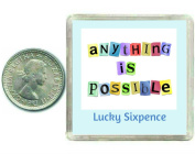 Lucky Silver Sixpence Coin Gift. Includes presentation keepsake box, great inspirational good luck charm present idea for friends, relatives, and work colleagues for occasions like birthdays, anniversaries, xmas