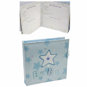 Blue Fabric Baby Boy Record Book Journal & Keepsake Box - Star Design