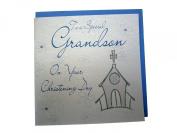 White Cotton Card Christening Grandson