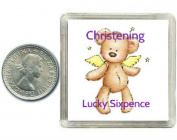 Christening Gift Lucky Silver Sixpence Coin for Boys & Girls. Includes presentation box, great keepsake present idea for child