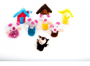 Homgaty 8 Pcs The Three Little Pigs Animals Finger Puppets Story Telling Nursery Fairy Tale The Perfect Birthday, Christmas Gift
