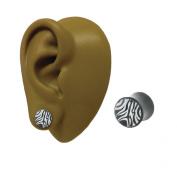 One - 6 mm - Organic Tusk Black Zebra Print Double Flare Flesh Ear Plug Stretcher Earring