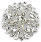 Elixir77UK Silver Colour Flower Bouquet Wedding Bridal Party Gift Pin Brooch With Plain Crystals