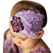 Demarkt Baby Girl Hair Accessories Infant Kids Children's Elastic Feather Flower Headband Decorative Hairband Purple