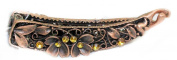 Girls Ladies Small Vintage Style 8.9cm Gemstone Banana Style Hair Clip Gold