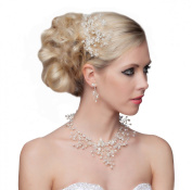 Stunning Hair Comb With Pearls and Clear Crystals - SH-DL-H0424