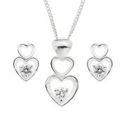 Ornami Sterling Silver CZ Heart Slider Pendant and Earring Set with Chain of 46cm