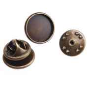 New Arrival Antique Bronze Plated Copper Brooch Pin Back with 12mm Round Flat Base-50pcs