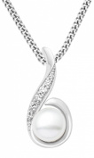 Miore Ladies 925 Sterling Silver Pearl and Zirconia Pendant on 45cm Chain MSAE011N