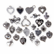 25pcs Alloy Various Heart Shapes Pendants Charms Beads for DIY Craft Jewellery Making---Silver