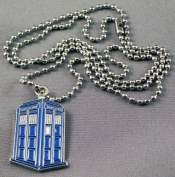 Metal Enamel Pendant Time Lord Tardis Blue Police Box
